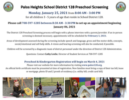 District 128 Preschool Screening