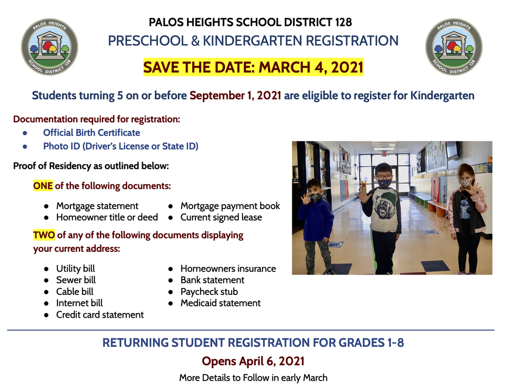 Preschool and Kindergarten Registration Mark your calendars! District 128 Preschool and Kindergarten registration will take place on March 4, 2021.