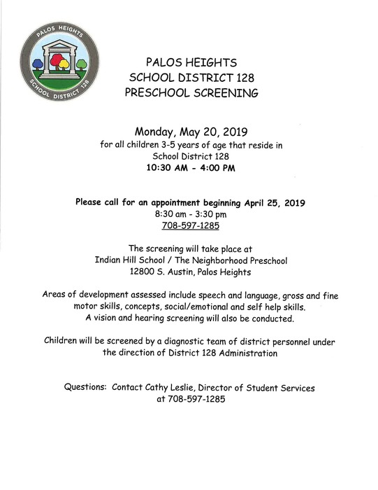 PHSD 128 Preschool Screening - Monday, May 20, 2019